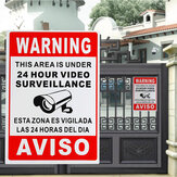 24 Hour Video Surveillance Warning Sign Sticker Security Video Spanish English Metal