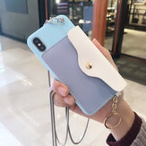 Fashion Creative Wallet Pattern Silicone Protective Case with Strap Card Slot for iPhone X / XS / XR / XS Max / 6 / 7 / 8 / 6S Plus / 6 Plus / 7 Plus / 8 Plus