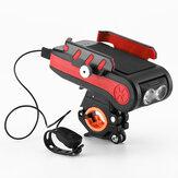 BIKIGHT 4-en-1 4000mAh 550LM vélo lumière USB Rechargerable batterie externe support de téléphone étanche phare avec corne de vélo