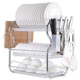3 niveles Cromo Estante para secar platos Escurridor Cubiertos Tazas Soporte Goteo Arreglo de almacenamiento de cocina para platos