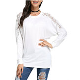 Sexy Women Bat Mouw Patchwork Lace Loose T-shirt