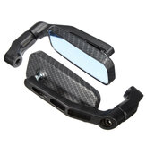 Universal Motorcycle Bike Rectangle Rear View Mirrors 8mm 10mm Black Carbon