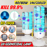 40W 80W UV Germicidal Lamp UVC E27 LED Bulb Household Ozone Disinfection Light With 1.7M Lampholder Switch