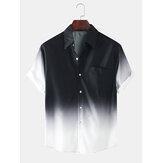 Mens Fashion Gradient Color Respirável Pocket Casual Shirts