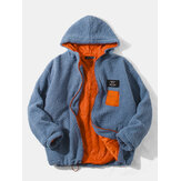 Mens Letter Embroidered Applique Teddy Hooded Jacket With Pocket