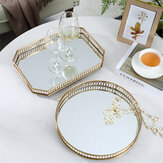 Round/Square European Gold Mirror Iron Serving Tray Home Office Storage Holder