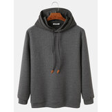 Mens Solid Color Waffle Loose Fit Drawstring Hoodies