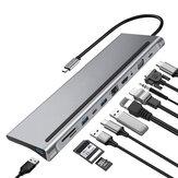 Adaptador de HUB para estação de acoplamento USB-C Bakeey 11 em 1 com fornecimento de energia PD USB-C / VGA / AUX de 3,5 mm / HDMI / RJ45 Gigabit Ethernet / Transmissão de dados USB-C / Thunderbolt USB3.0 * 2 / USB2.0 / Leitor de cartão de memória