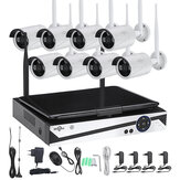 Hiseeu 10 Inch Displayer 8CH 1200P Wireless CCTV System NVR IP Camera IR-CUT Bullet CCTV Home Security System CCTV Kit