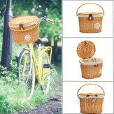 13,7x11x9,4 дюймов велосипедная передняя корзина ручной работы плетеная ива для покупок Коробка Моющаяся льняная велосипедная корзина На откр