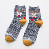 Women Deer Painting Cotton Socks Retro Christmas Warm Ankle Socks