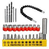 28pcs Drill Bits Set Including 18pcs Screwdriver Bit 9pcs Screw Extractor 1pc Shaft Drill