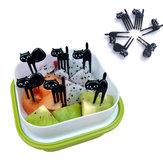 6 Pcs Mini Animal Fourche Fruits Picks Mignon de Bande Dessinée Noir Chat Enfants Fourche Cure-Ciment Bento Déjeuner Boîte Décor Accessoires