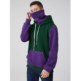 Mens Contrast Patchwork Kangaroo Pocket Hoodie With Letter Embroidery Snood