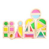 Kidpik 24PCS Wooden Rainbow Blocks Zabawki budowlane Building Toy Set Stacking Blocks