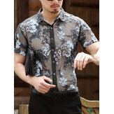 Mens Openwork Floral Embroidered Short Sleeve Shirts