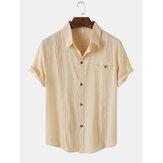 メンズ無地襟襟ボタンアップ半袖シャツ