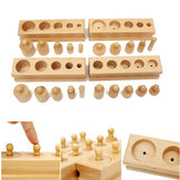 Knobbed Cilinder Blocks Family Set Houten Montessori Educational Toy