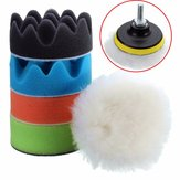 Drillpro 6pc 3 Inch Car Washing Set Sponge Polishing Waxing Buffing Pads Set Kit Compound Auto Car Drill
