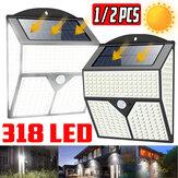 1X / 2X 318LED Solar Luz de movimiento infrarrojo Sensor Pared de seguridad para jardín Lámpara para patio de patio al aire libre