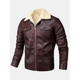 Mens PU Leather Zip Front Lapel Collar Thick Jackets With Flap Pockets