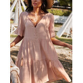 Bohemia Solid Color Knotted Button V-neck Half Sleeve Tassel Dress