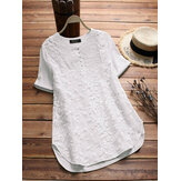 S-5XL Women Cotton Patchwork Luźna bluzka z krótkim rękawem