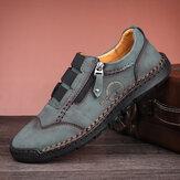Homens Microfibra Leve Costura À Mão Lado Zipper Soft Sola Sapatos Casuais de Negócios