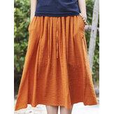 Faldas de lino de algodón de color sólido ocasionales de las mujeres