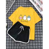 Mulheres dos desenhos animados impressão pijama bonito conjunto curto duas peças sleepwear com shorts esportivos
