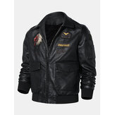 Mens Tribal Embroidery Eagle Head Badge Pocket Zipper Long Sleeve PU Leather Jackets