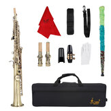 SLADE S66 Straight Bb Soprano Saxophone Brass Lacquered Gold Woodwind Instrument
