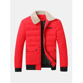 Mens Quilted Sherpa Lapel Collar Zip Front Thick Jacket With Flap Pocket