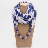 Bohemsk trykt chiffon flerlags halskæde Håndlavet perlet kvast vedhæng tørklæde halskæde