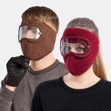 ユニセックスフリース防風ウォームアイフェイス耳栓HDアウトドアライディング用ゴーグルマスク