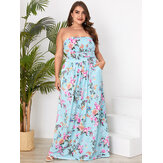 Plus Size Floral Print Side Pockets Tube Top Sleeveless Holiday Maxi Dress