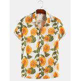 Sun Flower Print Turn Down Collar Koszule z krótkim rękawem na co dzień