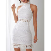 White Lace Hollow Out Design High Neck Off Shoulder Sleeveless Dress