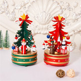 Christmas Decorations Creative Wooden Christmas Tree Deer Santa Claus Music Box Christmas Desktop Ornaments