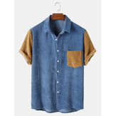 Herre Corduroy Patchwork Turn Down Collar Shirts med korte ærmer