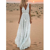 Polka Dot Print Praia Sundress Maxi Dress