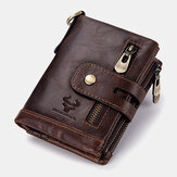 Herren Echtleder RFID Anti-Scanning Anti-Theft Zipper Wallet With Chain