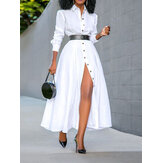 Women Basic Button Down Front Lapel Solid Color Long Sleeve Shirt Dress