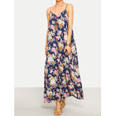 Women Bohemian Floral Printed  Strap Beach Maxi Dress
