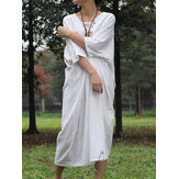 Solid Color Crew Neck Front Button 3/4 Sleeve Baggy Casual Loose Dress