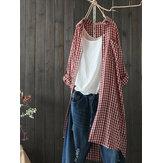 Women Turn Down Collar Plaid Button Long Sleeve Blouse