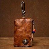 Herren Echtes Leder Vinatge Auto Schlüssel Brieftasche Textur Wear-resistang Key Case Münze Geldbeutel