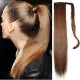 Przedłużanie włosów syntetycznych z długim prostym kucykiem