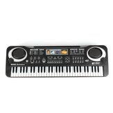 قياسي 61 مفتاحًا لوحة مفاتيح البيانو الإلكترونية للأطفال مع ميكروفون مكبر صوت خارجي يدعم الغناء الذي يلي التدريس