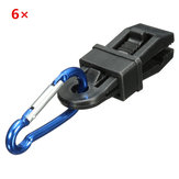 6pcs Tent Windproof Securing Clip Hook Buckle Alligator Clip